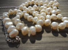 Long pearl knotted necklace by SunshinesPush on Etsy, $26.00