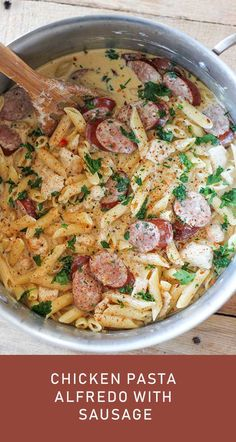 This One-Pot Cajun Chicken and Sausage Alfredo is one of our new favorite meals. It is so simple to make and absolutely packed with flavor. Tender chunks of chicken with smoky pieces of sausage in a rich and delicious homemade alfredo sauce. This meal ser Fettucine Alfredo, Chicken Alfredo, Alfredo Sauce, Pasta Alfredo, Easy Chicken Dinner Recipes, Easy Meals, Chicken Sausage Recipes, Alfredo With Sausage, Shrimp And Sausage Alfredo Pasta Recipe