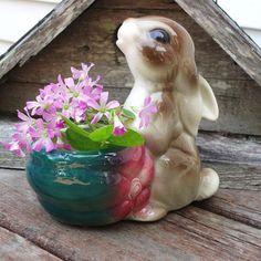 Bunny Planter, Vintage Pottery, Rabbit Planter, Ceramic Bunny, Summer Decor. $12.00, via Etsy.