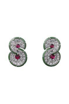 CARTIER. Earrings #Cartier #CartierRoyal #2014 #HauteJoaillerie #HighJewellery #FineJewelry #Ruby #NephriteJade #Diamond
