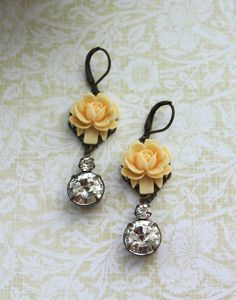 An Ivory, Light Yellow Rose, Estate Style Two Jewel, Rhinestone Jewel Earrings. Wedding. Bridesmaid Earrings. Bride. Maid of Honor.. $22.50, via Etsy.
