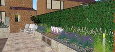 Tuinontwerp verhoogde plantenbak met u-element zitelement