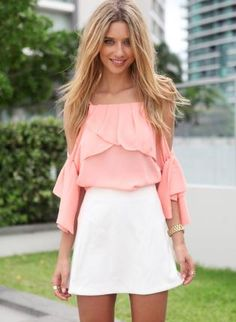 Peach Cutout Shoulder Blouse with Draped Ruffle Frill Detail,  Top, cutout top  ruffle  lone sleeve, Chic