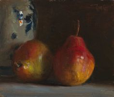 daily painting titled Two red pears with a Delft vase - click for enlargement