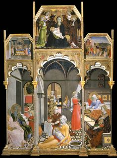 Sano di Pietro : Birth of the Virgin; Stories of the life of the Virgin  1406-1481 サノ・ディ・ピエトロ