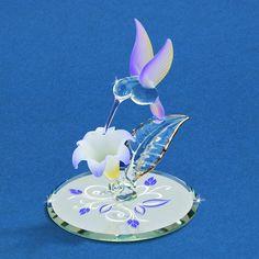 Glass Baron Lavender Hummingbird with Flower Figurine #glassbaron #hummingbird #figurine
