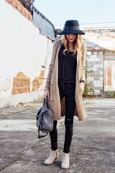 long knitted cardi casual fall outfit bmodish