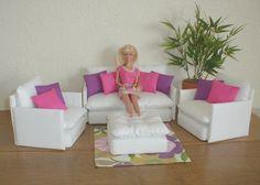 barbie furniture | diy barbie | Barbie Furniture Living Room Set WHITE with ... | Jazie ...