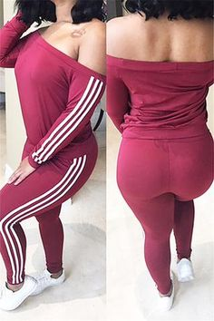 62ed73045a2c Roaso Leisure Dew Shoulder Striped Patchwork Milk Fiber Two-piece Pants Set