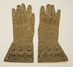 Gloves    Date:      16th century  Culture:      British  Medium:      leather  Dimensions:      [no dimensions available]  Credit Line:      Gift of Miss Irene Lewisohn, 1940  Accession Number:      C.I.40.194.28a, b