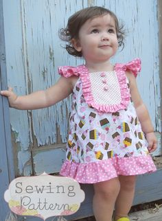 Sew Sweet Patterns - Reese Dress Woven fabrics: dress/ lining 1 yd…This adorable sundress pattern allows for many ways to showcase your favorite coordinating fabrics. Sleeves are elastic and bodice area is fullyReese Dress sizes months to 8 by sews Baby Girl Dress Patterns, Sewing Patterns Girls, Little Dresses, Little Girl Dresses, Sewing For Kids, Baby Sewing, Girls Dresses, Toddler Dress, Baby Dress
