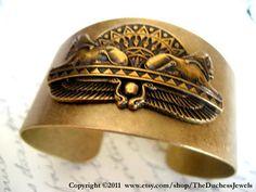 Brass cuff, Egyptian sphinx