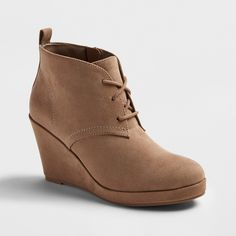 Women's Dv Terri Wide Width Lace Up Wedge Booties - Light Taupe 6.5W, Size: 6.5 Wide