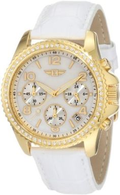 Invicta Women's IBI-10064-005 Chronograph Mother-Of-Pearl Dial White Leather Watch: Watches