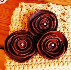 Recycled leather flower pins