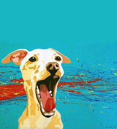 Kellie Oliphant-Burns's painting of her Italian Greyhound, entitled Leeroy Out Loud!, winner of The Mutt Lynch - Dog Art Today Wine Label Contest.