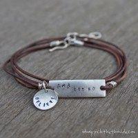 Let Go Leather Wrap Stamped Metal Bracelet