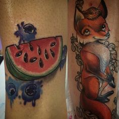 And there it is! Story of Watermelon and the Fox  how cool is that? Tattoos by @petjaevlogieva | #fridaytattoo #lacenano #lacenanotattoomachines #goodink