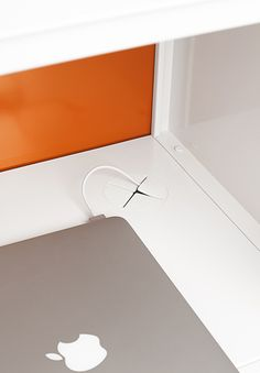 The Stash Sliding Door Locker features a silicone grommeted cut-out on the floor for wiring devices.