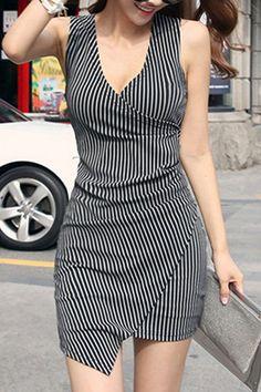 Sexy Stripe V-Neck Sleeveless Dress
