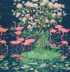 Flamingoes | Hand-painted paper design, 1979 | A blank greetings card featuring a design from the Warner Textile Archive, Braintree, Essex #England #UK