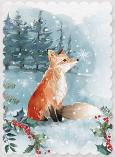 Woodland Fox Watercolor Christmas Forest Holiday Card Christmas by JunkyDotCom - Warm rustic woodland Christmas hand drawn watercolor illustration of a fox sitting in the winter snowy forest surrounded by Christmas foliages. Watercolor Christmas Cards, Christmas Drawing, Christmas Paintings, Christmas Art, Woodland Christmas, Handmade Christmas, Xmas, Fox Painting, Winter Painting