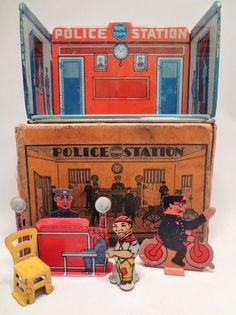 POLICE Station w BOX Vintage 1920's Marx Home Town Series Tin Toy House #Marx