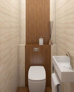 15 DIY Remodeling Small Bathroom Walls With Wooden Pallet, For a Rustic Feel Tiny Half Bath, Tiny Bath, Bathroom Toilets, Bathroom Wall, Minimalist Toilets, Small Toilet Room, Shower Tile Designs, Powder Room Design, Downstairs Toilet