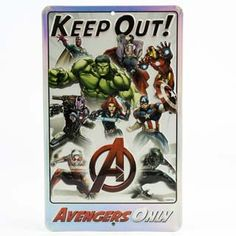 Avengers 'Keep Out' Embossed Tin Wall Sign Keep Out, Tin Walls, Open Signs, Xmas Wishes, Metal Signs, Wall Signs, Avengers, Wall Art, Action