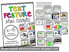 Ginger Snaps: Text Feature Mini Cards: Labeled {Freebie}