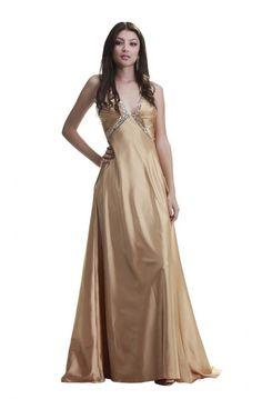 Sexy V Neck Empire Waist Open Back Long Gold Silk Beaded Prom Dress 1210dd570b26