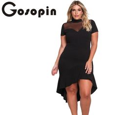 Gosopin Summer Dress XXXL Ruffled Work Office Dress Plus Size Black Sexy  Club Dresses Womens Large Sizes Hollow Out Blue 0754b0fa9ace