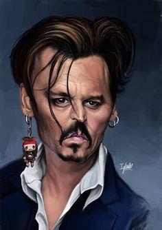 Caricatura del actor Johnny Deep, realizada por el artista Raúl Iglesias.     Caricatura de Johnny ...