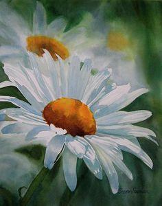 Sur cette oeuvre il y a des fleures, des marguerites. Il en a une plus en avant plant et 2-3 en arrière plan. La première est très détailler et ceux derrière sont plus flou comme si la peinture aurait été peinturer comme un photo. Sur cette toile il y a du blanc, du vert, du jaune et du noir. J'aime cette oeuvre car dans ma famille elle peu représentés beaucoup!