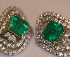 Elegant custom emerald and diamond earrings