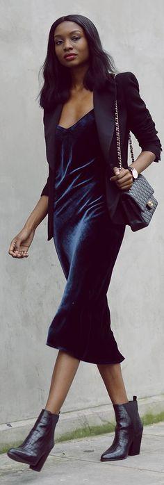 Blue Velvet Party Midi Dress by Bisous Natacha