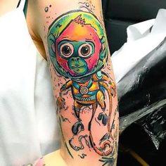 Colorful Space Monkey Tattoo Idea