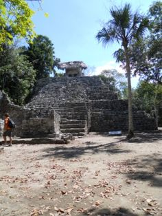Coba Mayan Ruins we trekked to on our Cancun vacation..sacrifial altar we climbed to