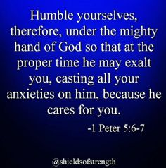 Have you ever noticed how when someone humbles themselves almost instantly forgiveness and grace fill your heart? Humility though sometimes hard heals the heart. Unresolved problems impact our health. They are bad for us mentally, emotionally, and spiritually. God promises us peace through his son Jesus Christ. If you don't know how to have this peace just ask us!