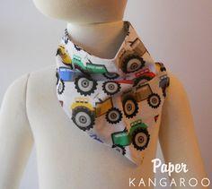 Bibdana  Tractors  primary colors  same fabric on by PaperKangaroo