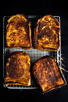 brûlée french toasts stuffed with creamy chestnuts.
