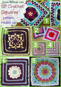 12 inch crochet square pattern round up from Jessie At Home - links to 7 lovely patterns!