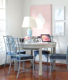 rose pink ghost chair. blue office desk with pantone colour of the year inspired accessories, pink ghost chair and paisley patterned rug | pinterest color, rose