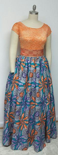 African Print Wrap Maxi Skirt with Asoke Wide by NanayahStudio