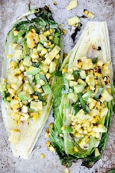 Grilled Romaine, Corn, Avocado, and Basil Salad with Lemon, Maple, Miso, Garlic, and Mirin Vinaigrette