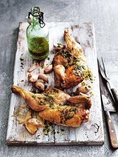 Entertaining for outdoor dinner birthday party celebration garlic & rocket roasted chicken recipe by Donna Hay (dja)
