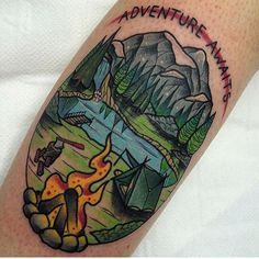Awesome Camping Tattoo by Martin Blair                                                                                                                                                                                 More