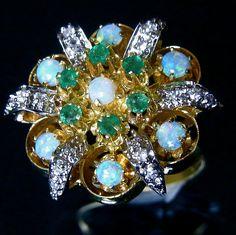 Antique Opal, Diamonds & Emeralds 14k Gold cocktail Ring