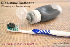 DIY Natural Toothpaste recipe - whitens and remineralizes - no coconut oil or oils of any kind - quick and easy to make! |Busy-at-Home