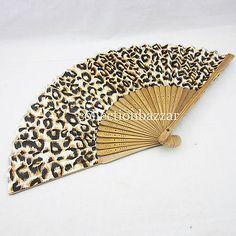 Chinese Leopard Spot  Bamboo Folding Silk HAND FAN Wedding Party Gift New A